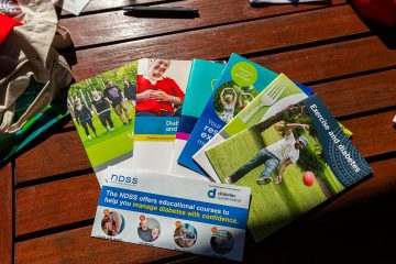 diabetes resources and brochures on a table