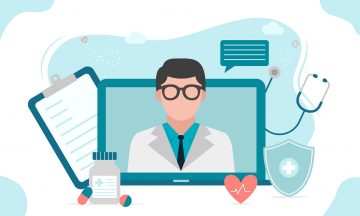 Illustration of online medical consultation, telehealth and holistic diabetes treatment