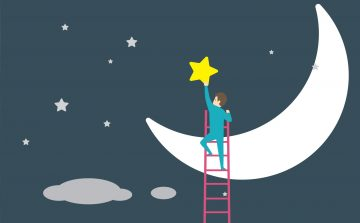 Illustration of a man at the top of a ladder placing a yellow star above a crescent-shaped moon.