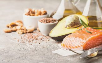 healthy fats such as salmon, avocado, nuts and olive