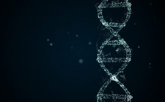 image of blue DNA particle on black background to illustrate genetic implications of diabetes