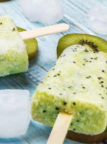 Two ice popsicles made from kiwi fruit