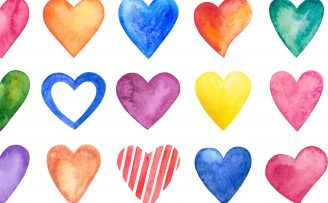 hand painted hearts in various colours against a white background